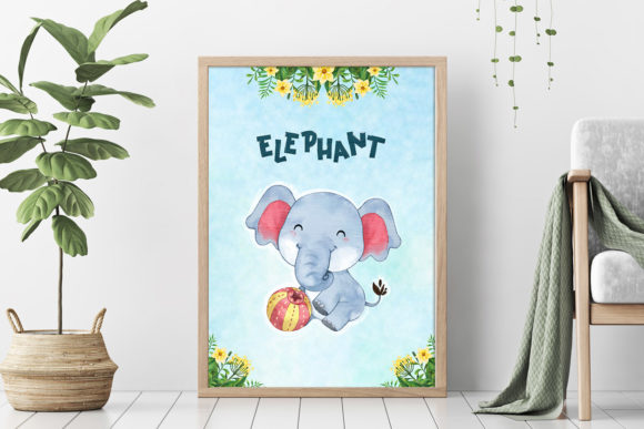 Print on Demand: Elephant Nursery Decor Graphic Illustrations By accaliadigital - Image 4