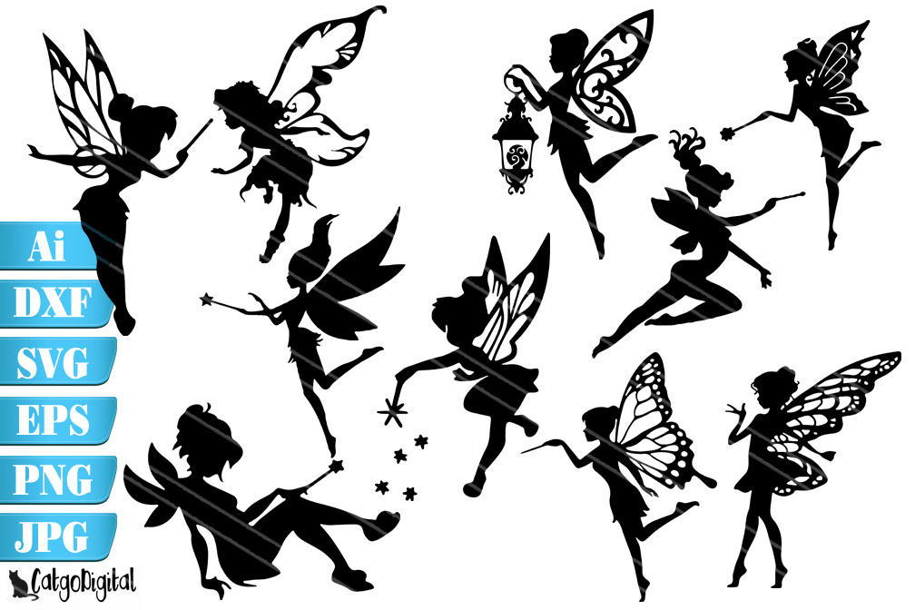 Download Free Fairy Silhouettes Fairy Graphic By Catgodigital Creative Fabrica for Cricut Explore, Silhouette and other cutting machines.