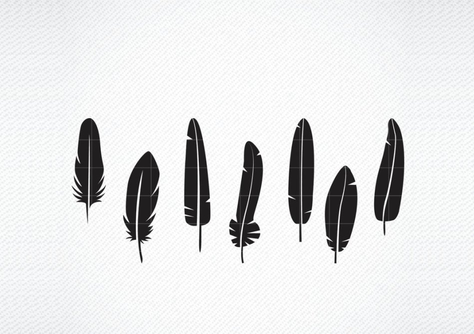 Download Free Feather Vector Graphic Graphic By Svg Den Creative Fabrica for Cricut Explore, Silhouette and other cutting machines.