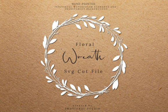 Download Free Acacia Floral Wreath Clip Art Graphic By 3motional Creative for Cricut Explore, Silhouette and other cutting machines.