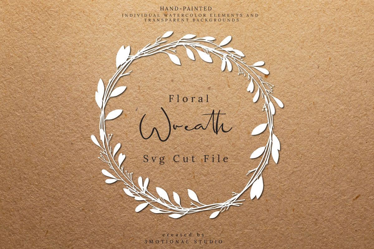 Download Free Floral Wreath Cut File Clip Art Graphic By 3motional Creative for Cricut Explore, Silhouette and other cutting machines.