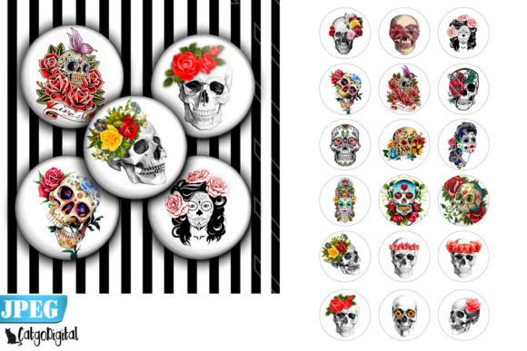Download Free Flower Skulls Printable Digital Images Graphic By Catgodigital for Cricut Explore, Silhouette and other cutting machines.