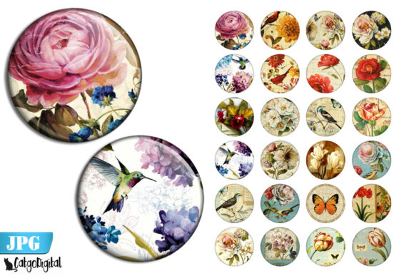 Print on Demand: French Shabby Chic Round Bottle Caps Graphic Crafts By CatgoDigital