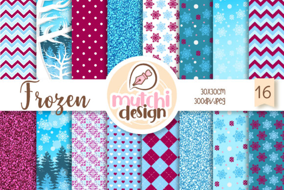 Print on Demand: Frozen Digital Papers Graphic Backgrounds By Mutchi Design