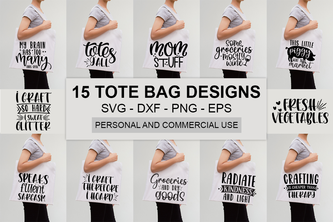 Download Free Funny Tote Bag Quotes Bundle Graphic By Designdealy Com Creative Fabrica for Cricut Explore, Silhouette and other cutting machines.