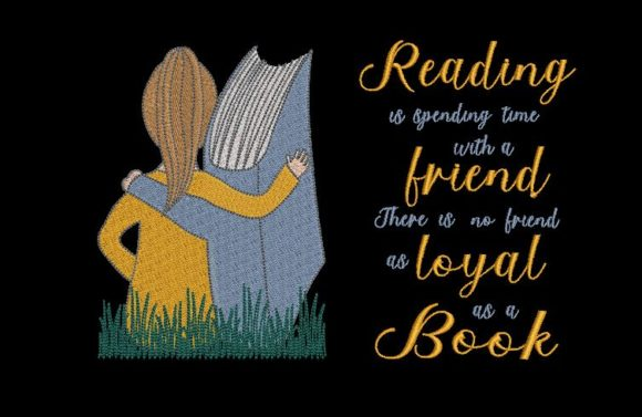 Print on Demand: Girl, Book and a Quote Combined Babies & Kids Quotes Embroidery Design By Embroidery Shelter
