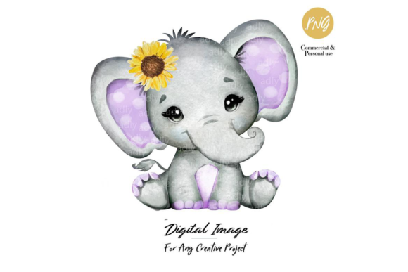 Print on Demand: Girl Elephant, Purple and Gray Graphic Illustrations By adlydigital