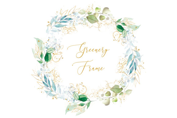 Print on Demand: Greenery Floral Gold Frame Clipart Graphic Illustrations By DesignItfor