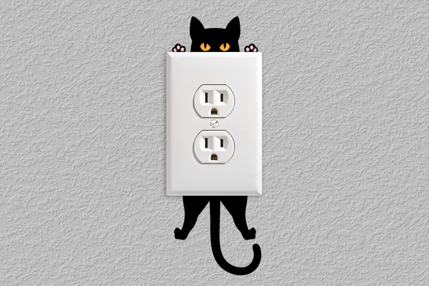 Download Free Hanging Cat Outlet Decoration Graphic By Risarocksit Creative for Cricut Explore, Silhouette and other cutting machines.