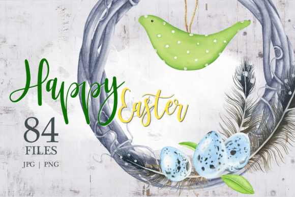 Print on Demand: Happy Easter Watercolor Clipart Graphic Illustrations By tpushnaya