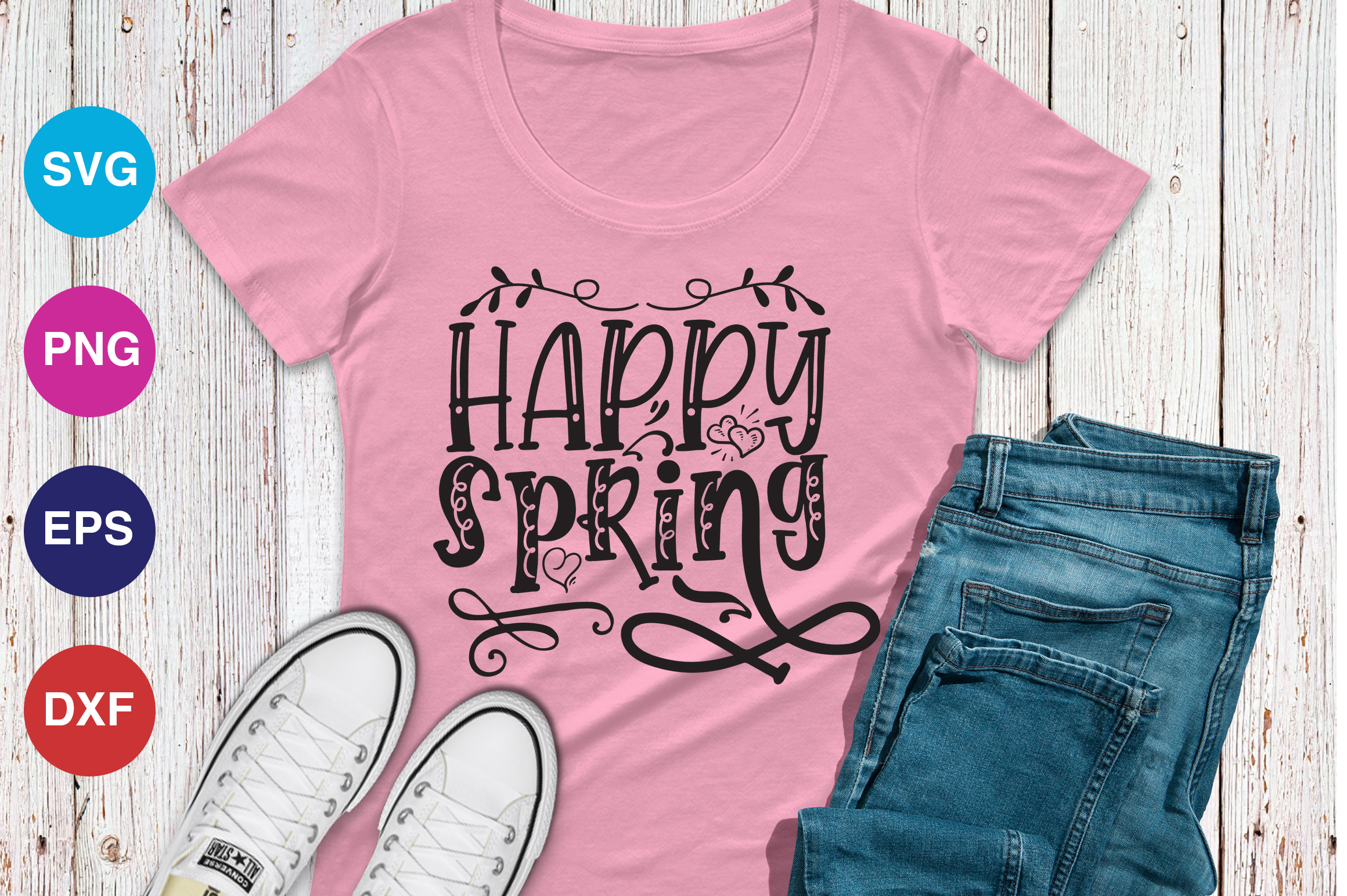 Download Free Happy Spring Graphic By Orindesign Creative Fabrica for Cricut Explore, Silhouette and other cutting machines.