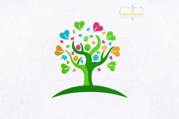 Heart Hands Tree Forest & Trees Embroidery Design By royalembroideries