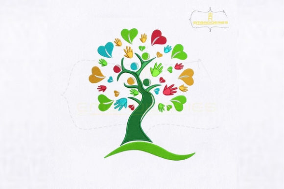 Helping Hands Tree Forest & Trees Embroidery Design By royalembroideries