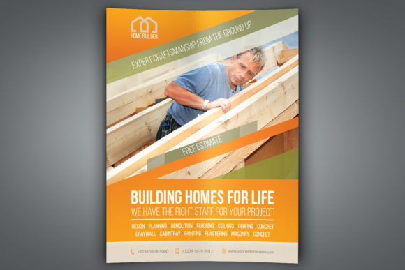 Download Free Home Building Carpentry Flyer Template Graphic By Owpictures for Cricut Explore, Silhouette and other cutting machines.