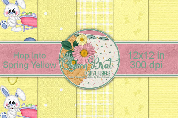 Print on Demand: Hop into Spring Yellow Backgrounds Graphic Backgrounds By QueenBrat Digital Designs