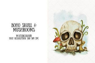 Human Skull with Mushrooms Boho Graphic Illustrations By My Little Black Heart