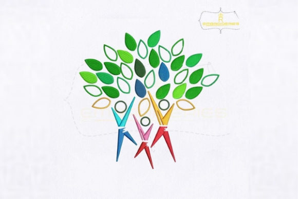 Human Tree Logo Forest & Trees Embroidery Design By royalembroideries