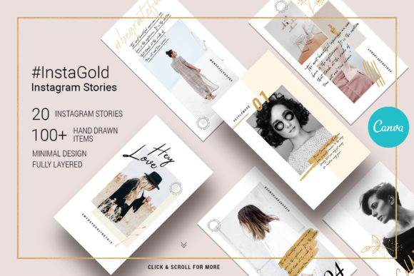 Print on Demand: #InstaGold - CANVA Instagram Stories Graphic Websites By SilverStag
