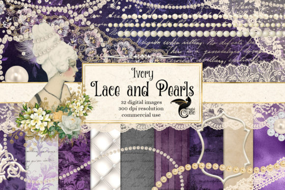Ivory Lace and Pearls Graphics Graphic Illustrations By Digital Curio - Image 1