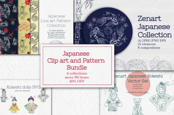 Japanese Clipart and Pattern Bundle Graphic Objects By Tatyana_Zenartist