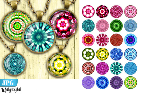 Print on Demand: Kaleidoscope Mandala Printable Circles Graphic Crafts By CatgoDigital