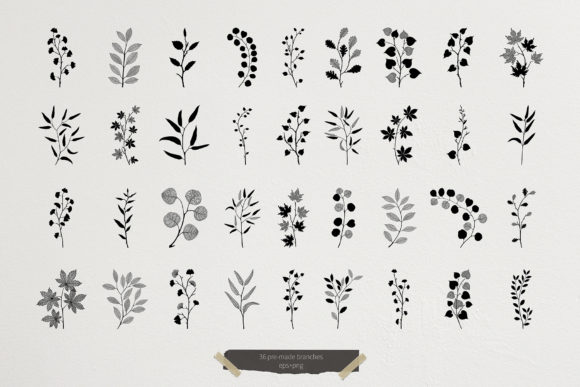 Download Free Leaves Modern Graphic Elements Graphic By Ju Angel Creative SVG Cut Files