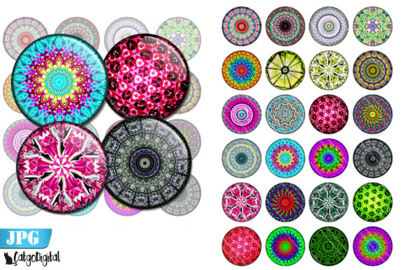 Download Free Mandala Bottle Cap Printable Images Graphic By Catgodigital for Cricut Explore, Silhouette and other cutting machines.