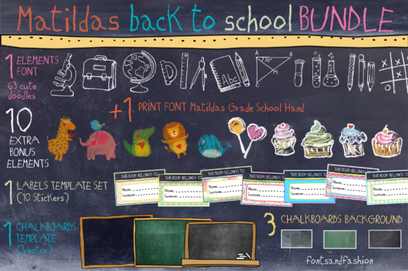 Matildas Back to School Bundle Graphic Crafts By Fontsandfashion