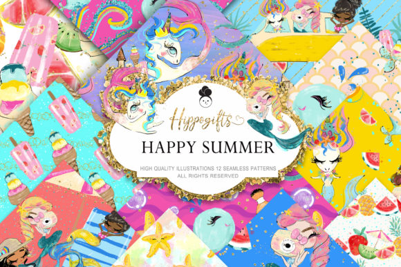 Mermaid Summer Pattern Grafik Muster von Hippogifts