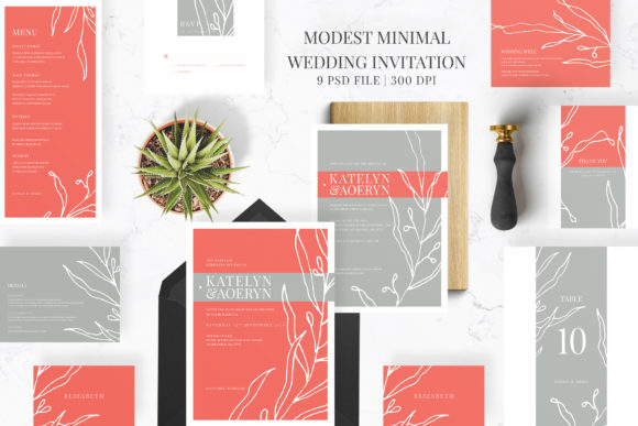 Download Free Modern Minimalist Wedding Suite Graphic By Azka Creative for Cricut Explore, Silhouette and other cutting machines.