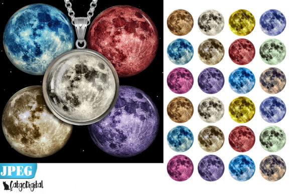 Print on Demand: Moon Bottle Cap Images Digital Collage Graphic Crafts By CatgoDigital