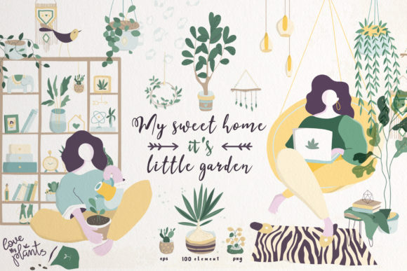 My Sweet Home and Little Garden Graphic Illustrations By AnnArtHouze