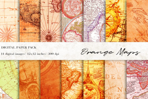 Orange Vintage Maps Digital Papers Graphic Backgrounds By BonaDesigns