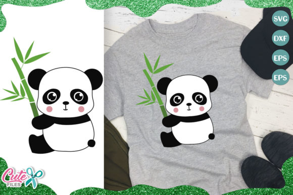 Panda Bear with Bamboo Graphic Illustrations By Cute files