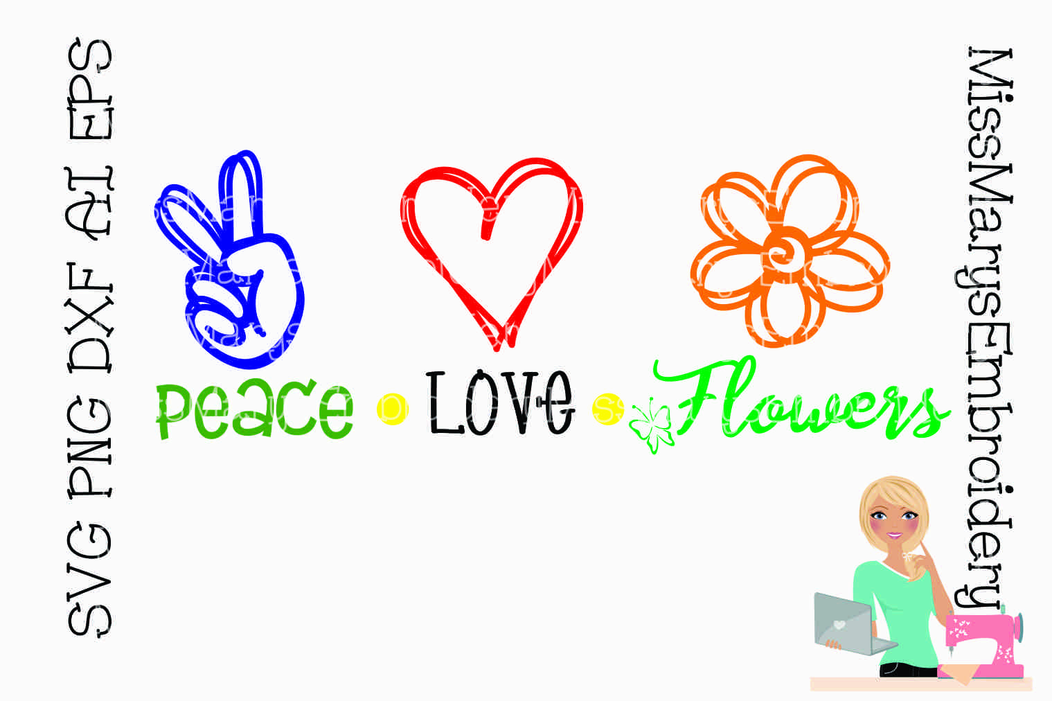 Download Free Peace Love Flowers Graphic By Missmarysembroidery Creative Fabrica for Cricut Explore, Silhouette and other cutting machines.