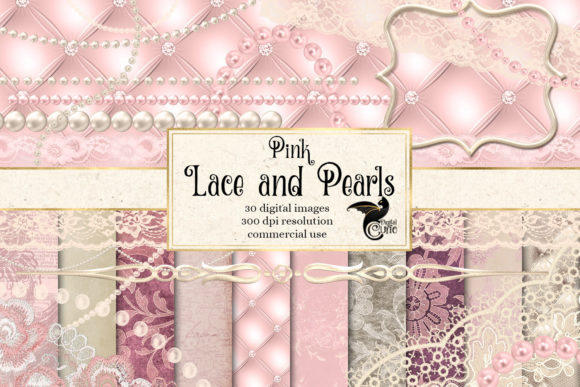 Print on Demand: Pink Lace and Pearls Graphics Graphic Illustrations By Digital Curio