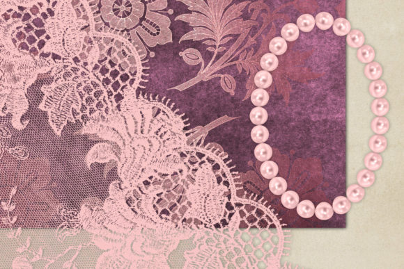Pink Lace and Pearls Graphics Graphic Illustrations By Digital Curio - Image 2