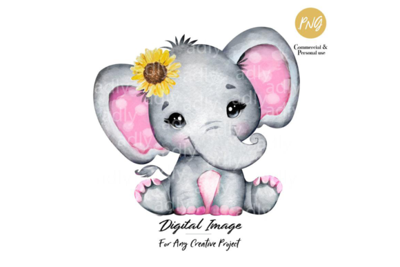 Print on Demand: Pinl Elephant Clipart Sunflower Graphic Illustrations By adlydigital