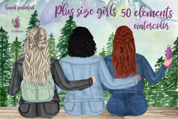 Plus Size Girls Best Friends Clipart Graphic Illustrations By LeCoqDesign
