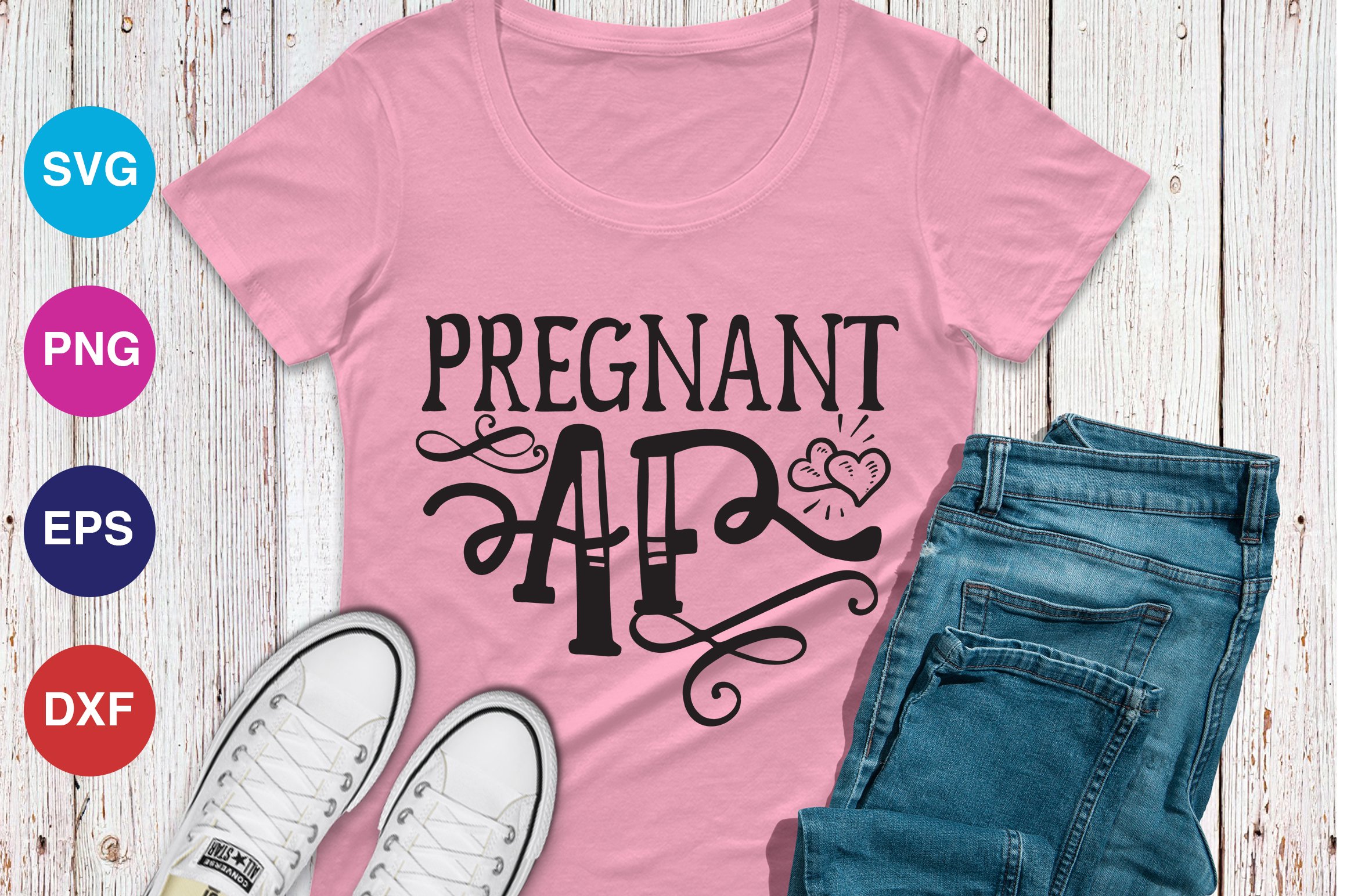 Download Free Pregnant Af Graphic By Orindesign Creative Fabrica for Cricut Explore, Silhouette and other cutting machines.