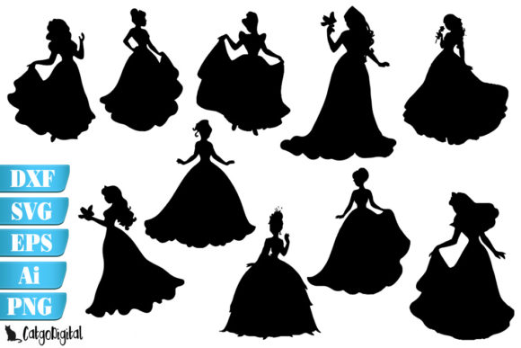 Download Free Princess Silhouettes Princess Clip Art Graphic By Catgodigital for Cricut Explore, Silhouette and other cutting machines.