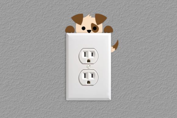 Puppy Light Switch Outlet Decoration Graphic Crafts By RisaRocksIt