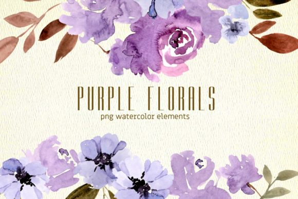 Print on Demand: Purple Florals Watercolor Clipart Graphic Illustrations By roselocket
