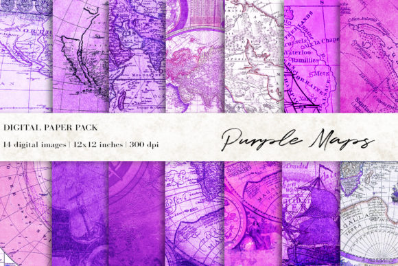 Purple Maps Digital Papers Graphic Backgrounds By BonaDesigns