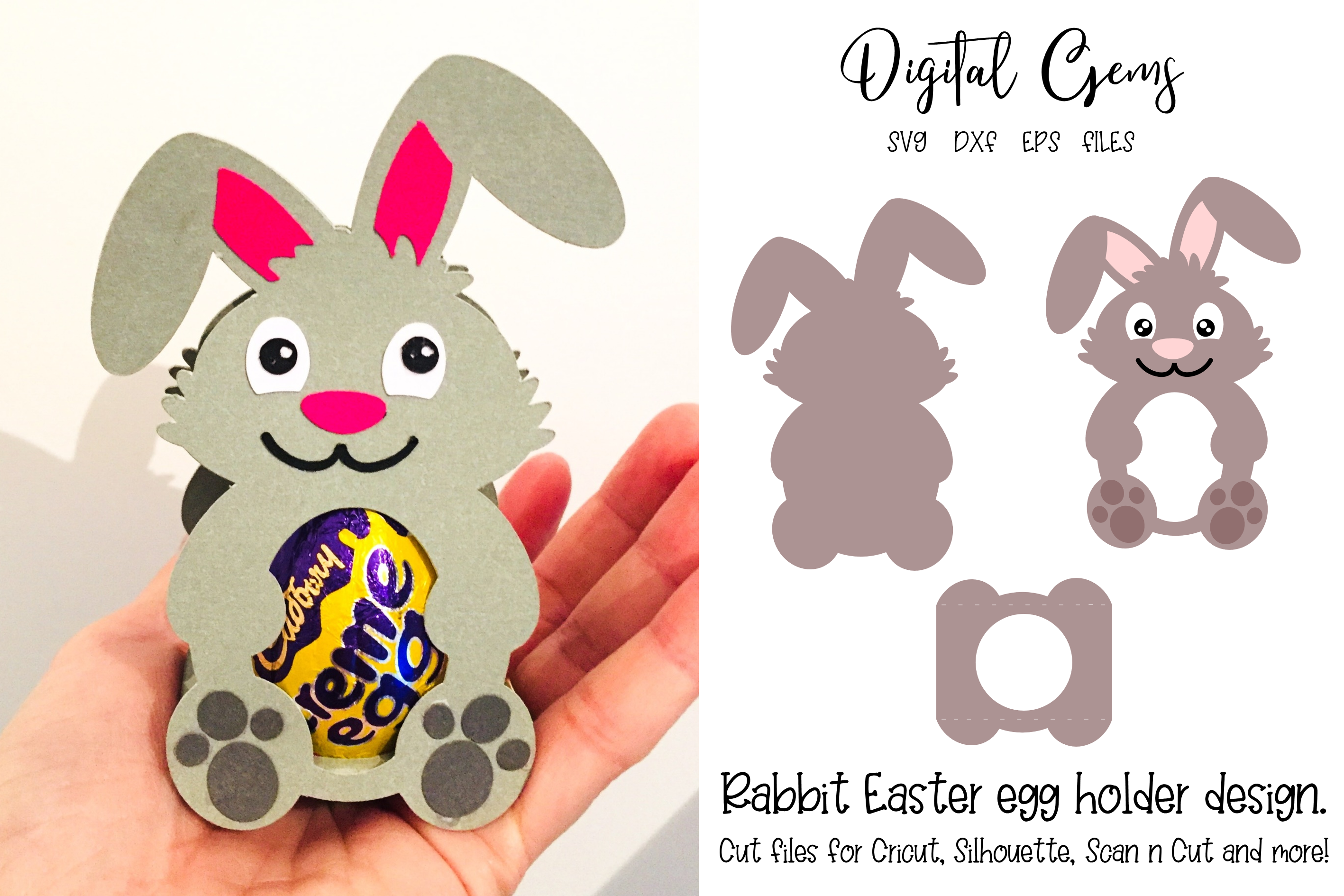 Download Free Rabbit Easter Egg Holder Design Grafico Por Digital Gems for Cricut Explore, Silhouette and other cutting machines.