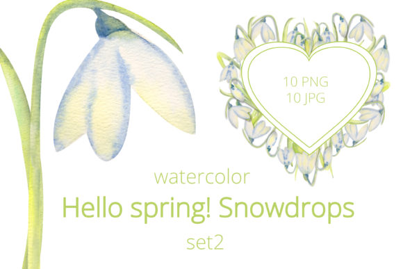 Print on Demand: Romantic Spring Frames with Snowdrops Graphic Illustrations By Natika_art
