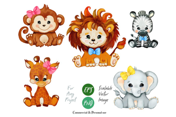 Print on Demand: Safari Animals Clip Art Graphic Illustrations By adlydigital