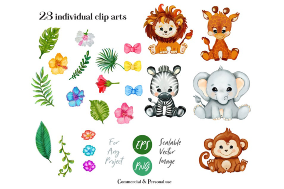 Download Free Safari Animals Clip Art Graphic By Adlydigital Creative Fabrica for Cricut Explore, Silhouette and other cutting machines.