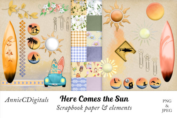 Download Free Scrapbook Paper Elements Scrap Kit Graphic By Anniecdigitals for Cricut Explore, Silhouette and other cutting machines.