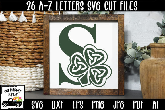 Shamrock Alphabet Letter a-Z Graphic Crafts By oldmarketdesigns